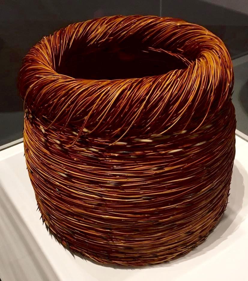 Wandjuk Marika Memorial 3D finalist - Shirley Manamara 'Ungabutha Guutu' (Porpupine Vessel) Media : Spinifex, porcupine quills, fixative