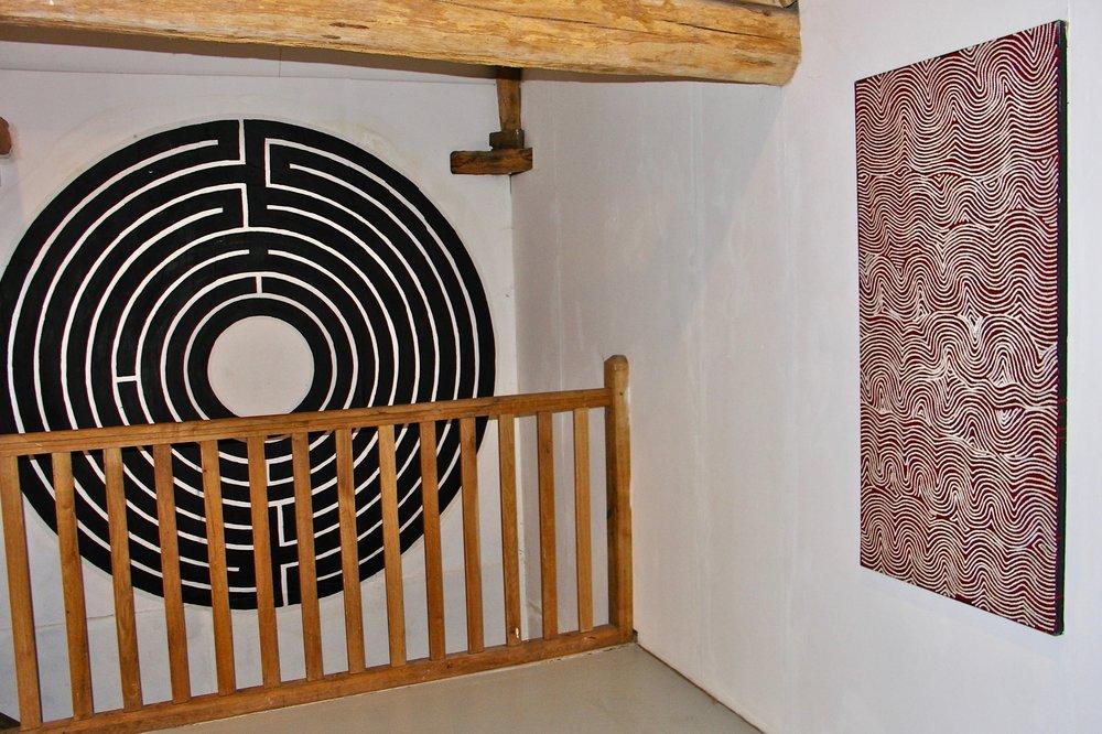 'Spirales et Labyrinthes' Centre Régional d'Art Contemporain, Château du Tremblay, Fontenoy Featuring 'Tarkul' by George Tjampu Tjapaltjarri