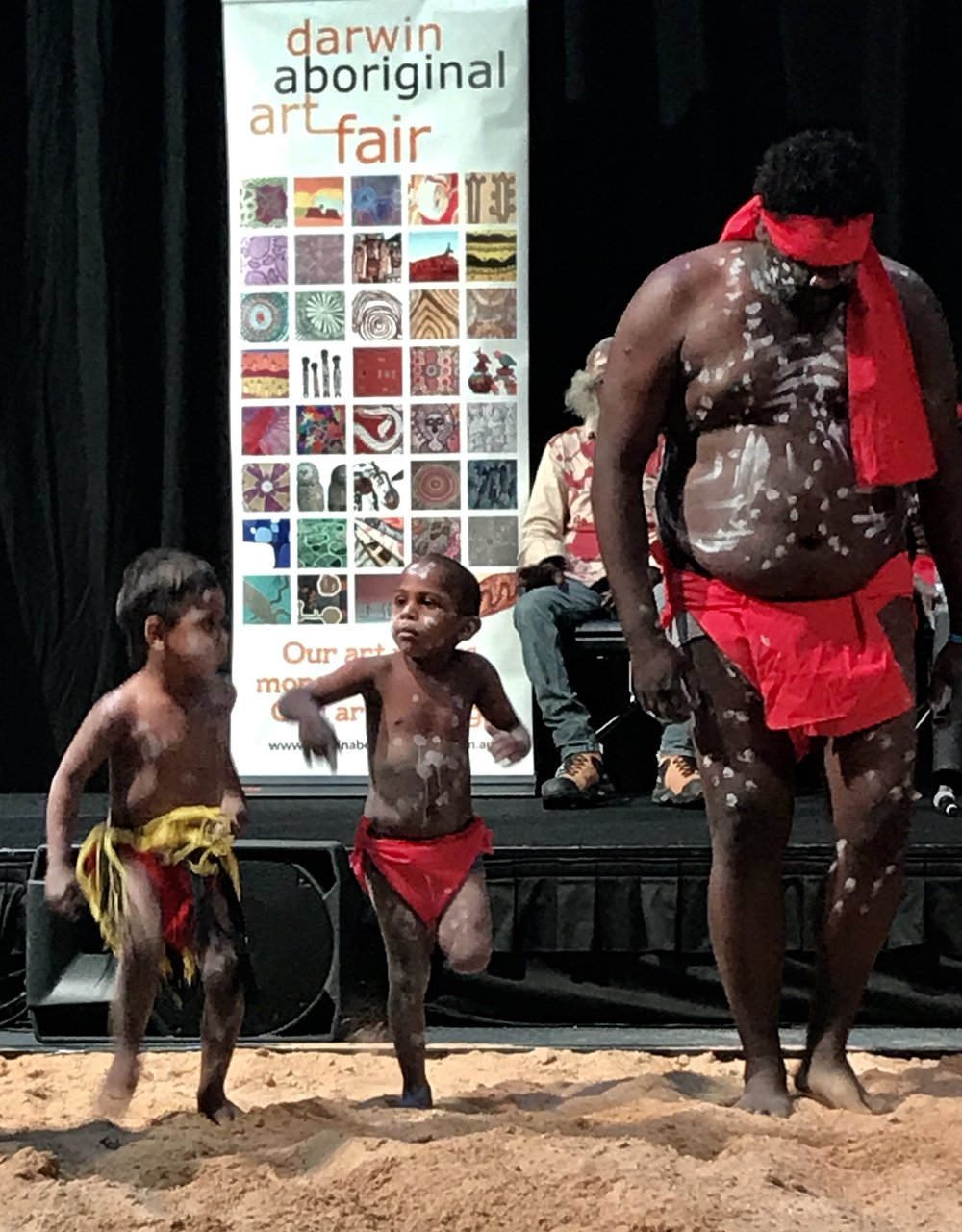 The Warringarri dancers from the Kimberley opened the Fair in style and cuteness