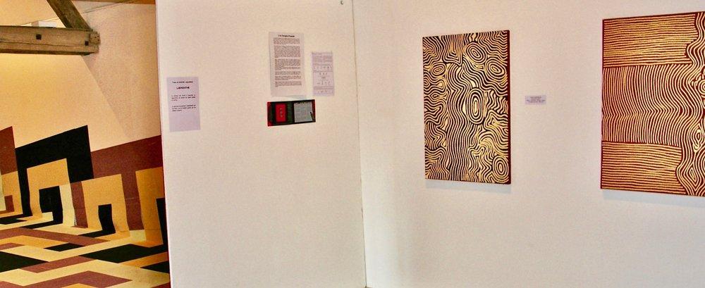 'Spirales et Labyrinthes' Centre Régional d'Art Contemporain, Château du Tremblay, Fontenoy   Featuring My Mother's Country' by Donna Nungurrayi and 'Tjukurla' by Doreen Reid Nakamarra.