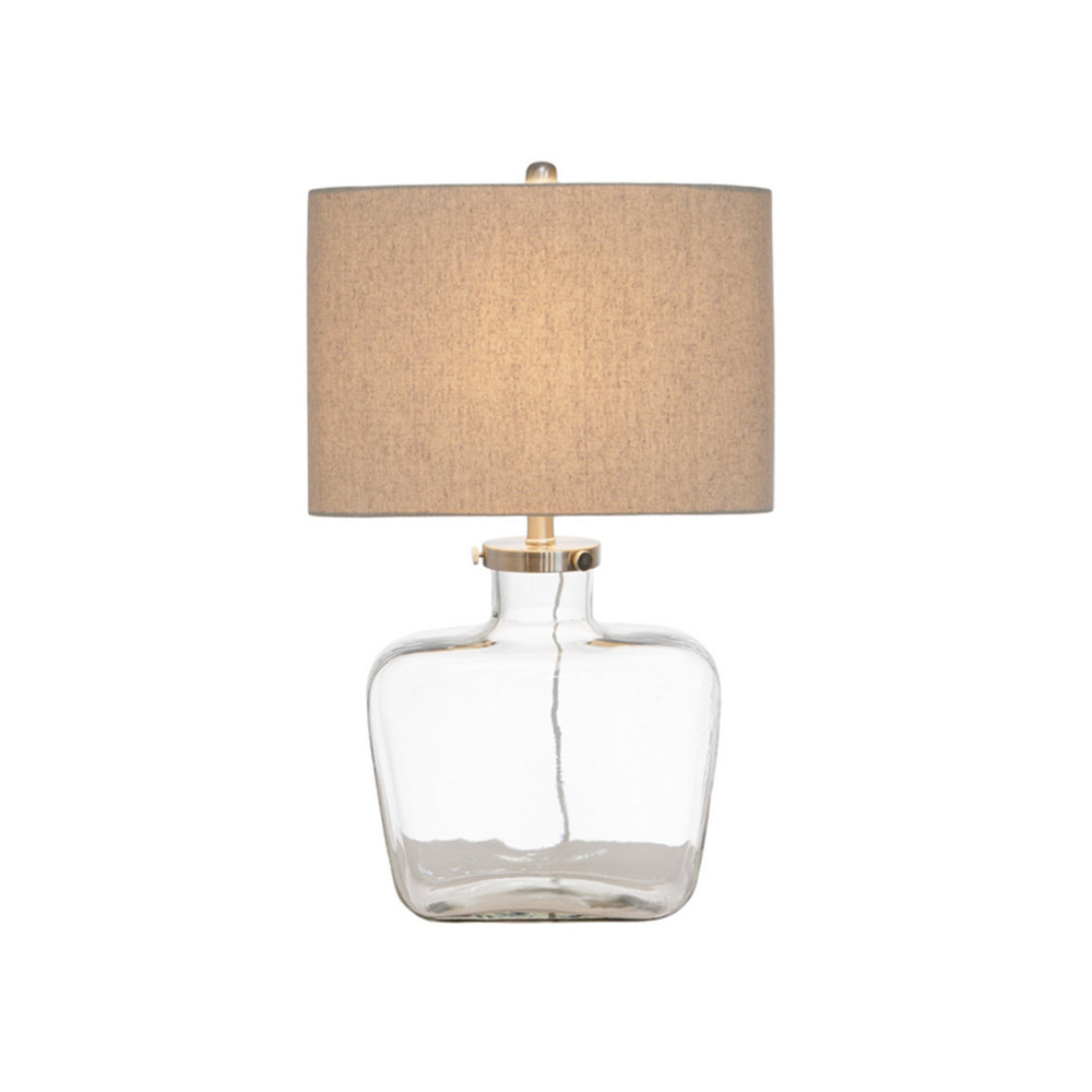 Fillable Glass Lamp w. Linen Shade $330.00