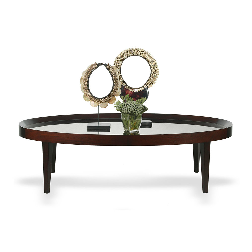 Kaca Oval Coffee Table Solid Mahogany 550Dia x 800 x 650 RRP $2100.00