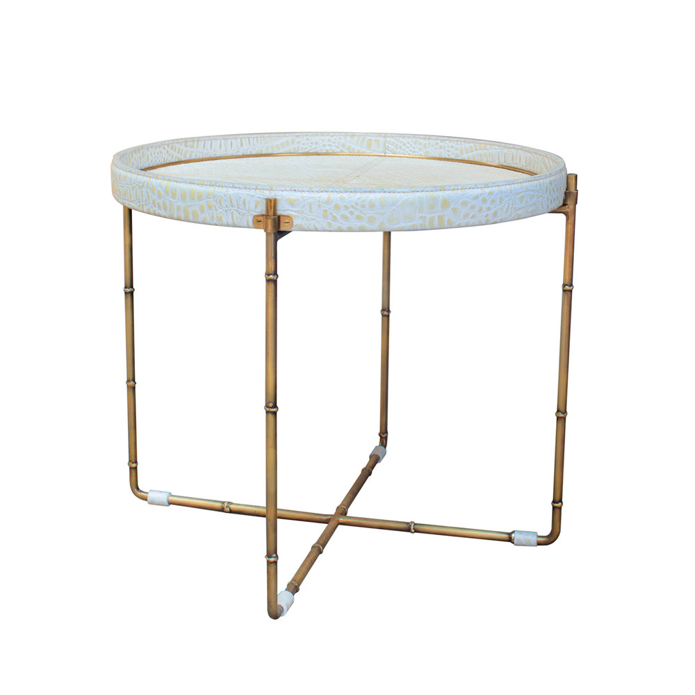 Bamboo & Croc Side Table 610Dia - RRP $1,650.00