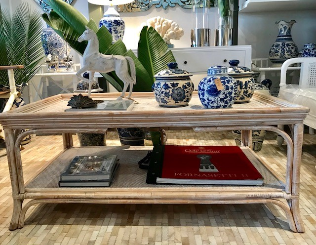Whitewash Rattan Coffee Table 1200W x 700D X 500H - RRP $900.00