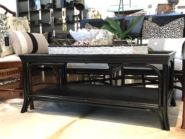 Rattan Coffee Table - Painted Ebony Finish  1200W X 700W X 500H - RRP $900.00