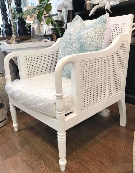 St Regis Armchair Mahogany Wood - 690W x 770D x 900H (Available Painted White, Black or Chocolate/Natural) - RRP $1740.00