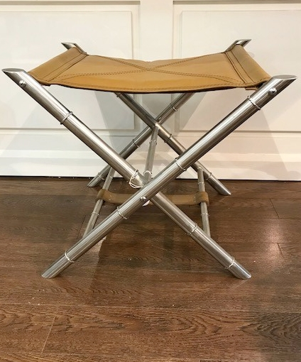 TAN SLIDE STOOL 580W X 560D X 510H - Tan Cowhide/Bamboo detail leg - RRP $740.00