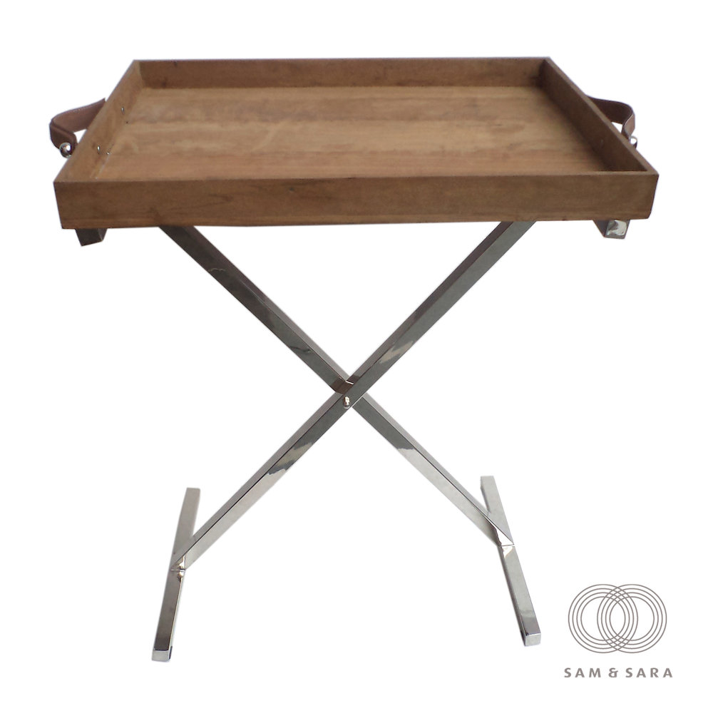 Wooden Butler Tray + Polished S/S Legs Leather Handles 610w x 460d x 820h - RRP $590.00