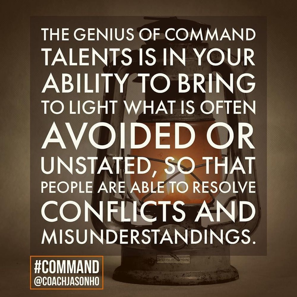 #Singapore - #StrengthsFinder #Command is like a lamp that shines in the darkened room of doubt. It especially likes to bring to light the things that others might have swept under the carpet of discontent    The definition of StrengthsFinder Command's GENIUS    The genius of Command talents is in your ability to bring to light what is often avoided or unstated, so that people are able to resolve conflicts and misunderstandings    #StrengthsFinderCommand  #StrengthsFinderGenius    #StrengthsQuest #StrengthsSchool #Gallup #StrengthsFinderSG #Asia #HumanResource #SelfImprovement #SelfDevelopment #StrengthsCoach #ProfessionalDevelopment #StrengthsFinderCoach #CoachJasonHo    Jason Ho • SouthEast Asia & Singapore's 1st StrengthsFinder Certified Coach • Strengths School™ Singapore
