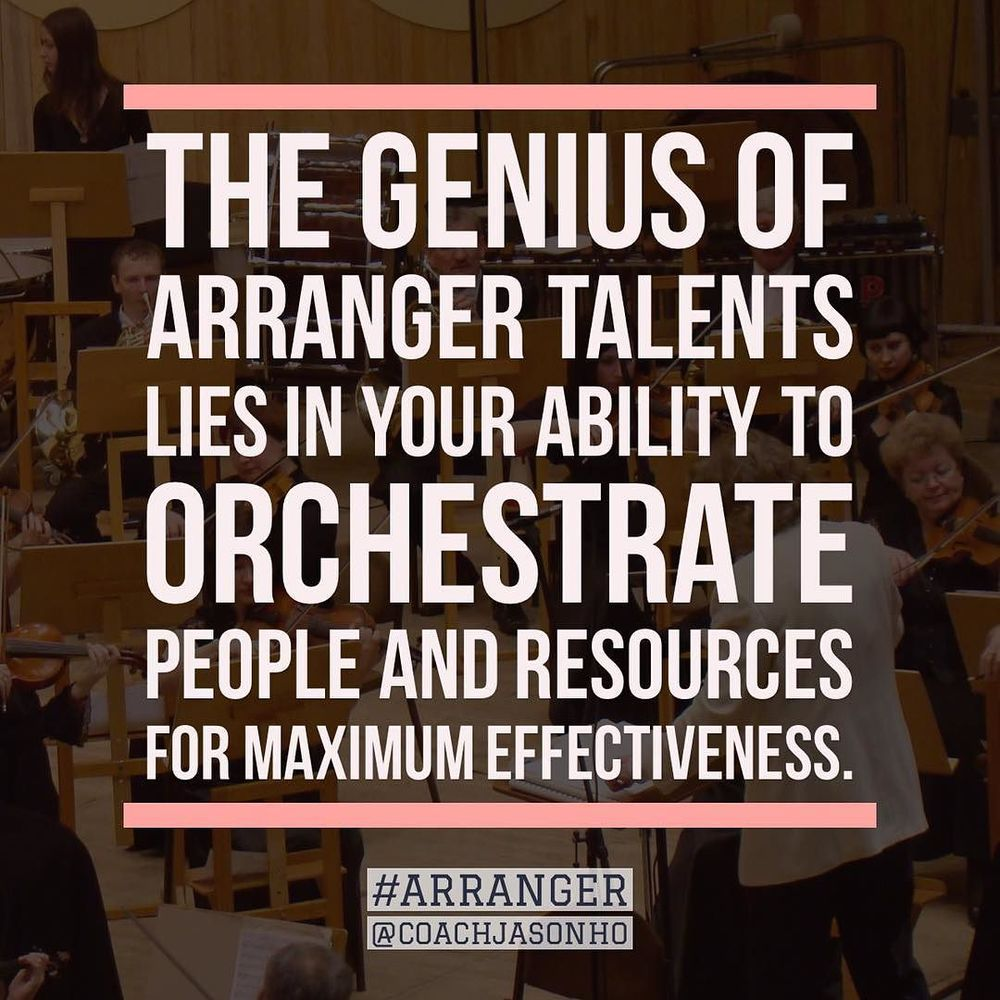 #Singapore - #StrengthsFinder #Arranger is like a conducter that configures different dynamic sounds into a beautiful symphony    The definition of StrengthsFinder Arranger's GENIUS    The genius of Arranger talents lies in your ability to orchestrate people and resources for maximum effectiveness    #StrengthsFinderArranger  #StrengthsFinderGenius    #StrengthsQuest #StrengthsSchool #Gallup #StrengthsFinderSG #Asia #HumanResource #SelfImprovement #SelfDevelopment #StrengthsCoach #ProfessionalDevelopment #StrengthsFinderCoach #CoachJasonHo    Jason Ho • SouthEast Asia & Singapore's 1st StrengthsFinder Certified Coach • Strengths School™ Singapore