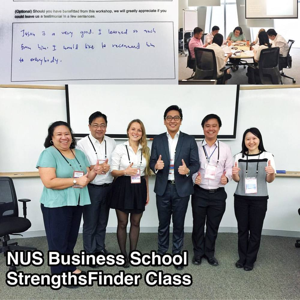 #StrengthsFinder Class in NUS Business School (#Singapore)    Sitting on the NUS Business School's expert panel for StrengthsFinder is indeed an honour. I get to interact with highly motivated and successful individuals from Asia that go through their school doors for deeper & greater business insight    In this class, I shared about a topic that I am extremely passionate about - StrengthsFinder. Unpacking their top 5 talents themes and sharing how they could make it into a strength    Business is a lot about understanding how your team works best, how they can be most productive and contribute in their most unique way. When individuals in the team can confidently say that they use their strengths every day at work, you're setting them up for both team and organisation success     My favourite testimonial is from an ASEAN government official - Jason is very good. I learned so much from him. I would like to recommend him to EVERYBODY    So… if you are part of his 'Everybody', feel free to contact me and I'll be happy to help you unleash your talents into strengths    #NUSbusinessSchool    #StrengthsQuest #StrengthsSchool #Gallup #StrengthsFinderSG #Asia #HumanResource #SelfImprovement #SelfDevelopment #StrengthsCoach #ProfessionalDevelopment #StrengthsFinderCoach    Jason Ho • SouthEast Asia's 1st StrengthsFinder Certified Coach • Strengths School™ Singapore