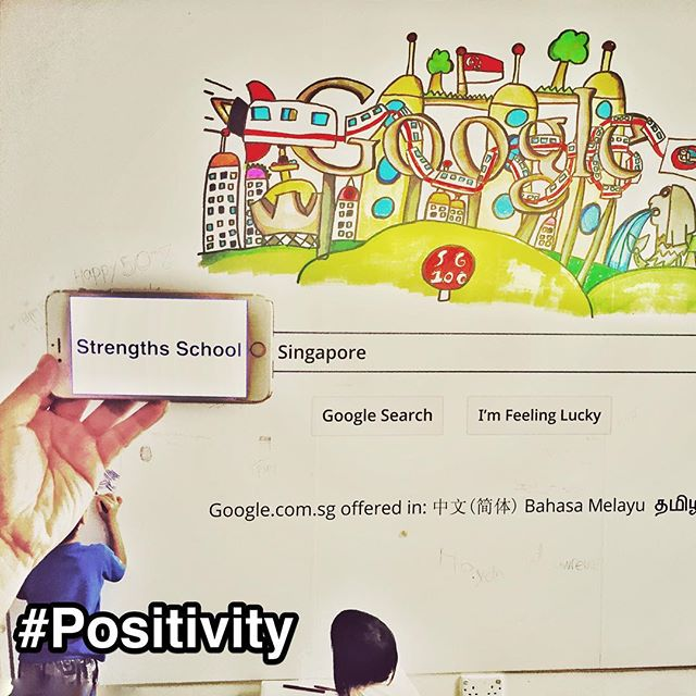 "StrengthsFinder Positivity: Google set up a Shophouse to commemorate Singapore's 50th birthday #SG50.  From what I know, almost ALL businesses are trying to get on Google's 1st page of the search results for their particular field. There are even 'SEO specialists' that help organizations to do just that.  Personally, I have been working on this for Strengths School's website. That when anyone searches 'Strengths School Singapore', success would be that our website is listed No.1.  Sooooo when I saw a HUGE Google search bar on the wall meant for putting your well wishes for Singapore, I had to do some ""what-Neo-does-in-real-world-affects-the-matrix"" SEO optimization.  Hopefully the 'Almighty Google' will look kindly upon my efforts…. Think this action is best described in the StrengthsFinder Positivity definition ""Somehow you can't quite escape your conviction that one must never lose one's sense of humor""  At least my son and daughter are doing what this wall was intended for - writing well wishes  #Positivity #Humor #GoogleFun #GoogleShopHouse #StrengthsFinder #Singapore #StrengthsQuest #StrengthsSchool #StrengthsFinderSG #Asia #HumanResource #Gallup #SelfImprovement #SelfDevelopment #TrainingAndDevelopment #ProfessionalDevelopment #StrengthsFinderCoach  Jason Ho StrengthsFinder Coach  Strengths School™ Singapore  http://ift.tt/1E78Xcx"