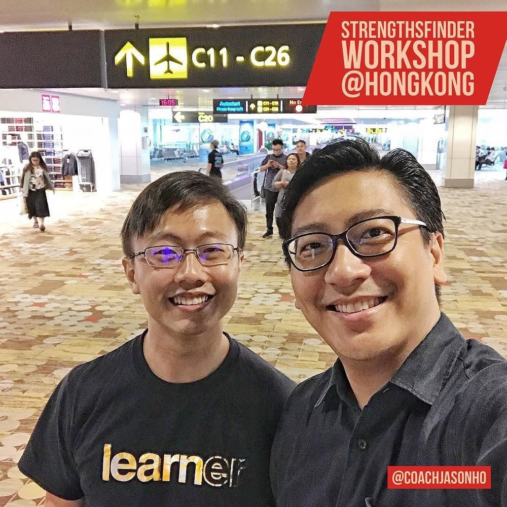 At Singapore Changi Airport flying to HongKong for a StrengthsFinder Workshop