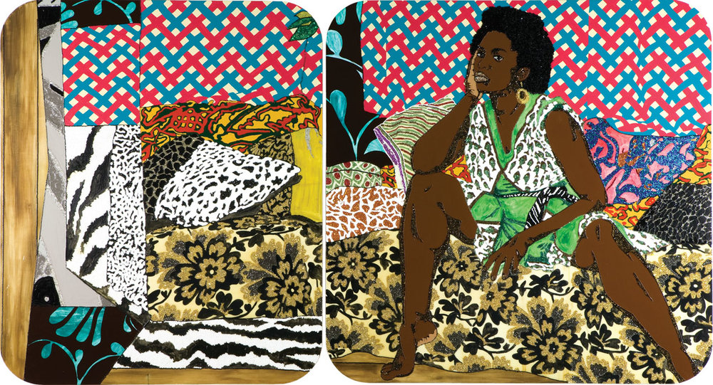 Baby I Am Ready Now, 2007, Mickalene Thomas, acrylic, rhinestone and enamel on panel, diptych, overall 72 x 132 in. (182.9 x 335.3 cm), acquired in 2007