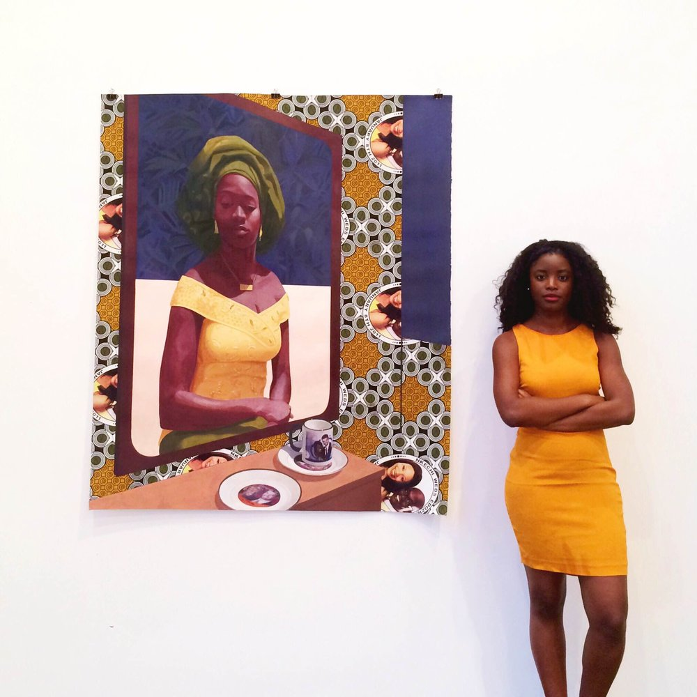 Pensive, with 'Wedding Souvenirs' by Nigerian artist Njideka Akunyili Crosby at  Victoria Miro.