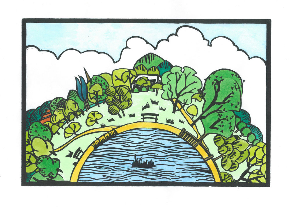 Hampstead Heath Pond Hand coloured linocut