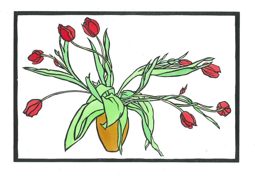 Tulips Hand coloured linocut