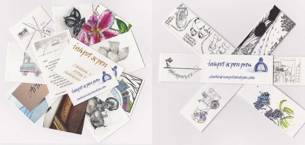A selection of business cards for Inkpot & Pen and Inkpot & Pen Press