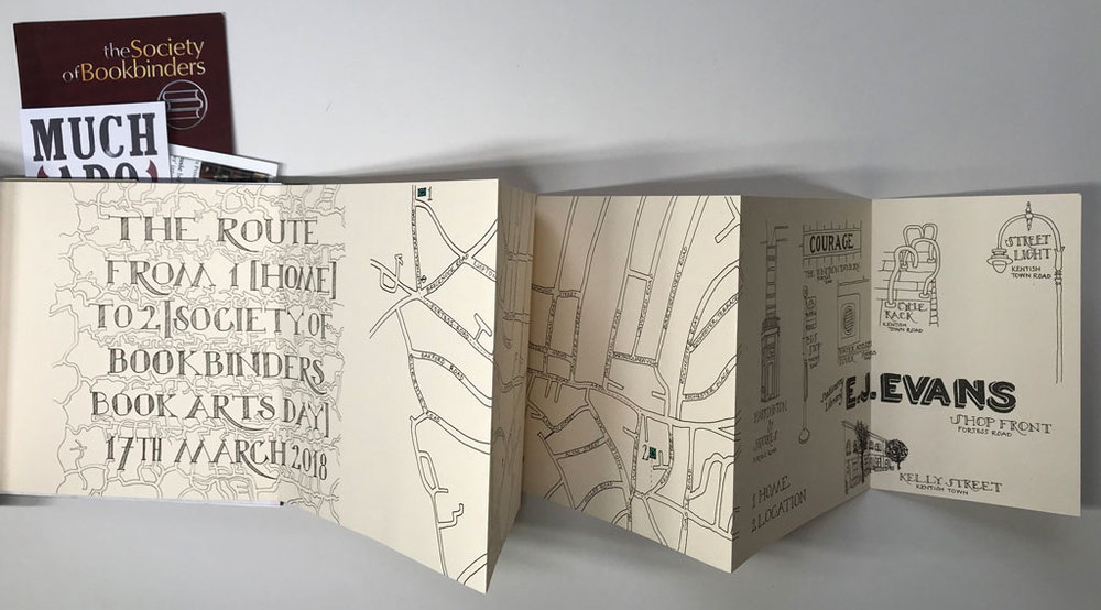 This concertina map, of the route from my home to the venue, with illustrations of things that caught my attention on the way, from lettering to lampposts, buildings to bus stops.