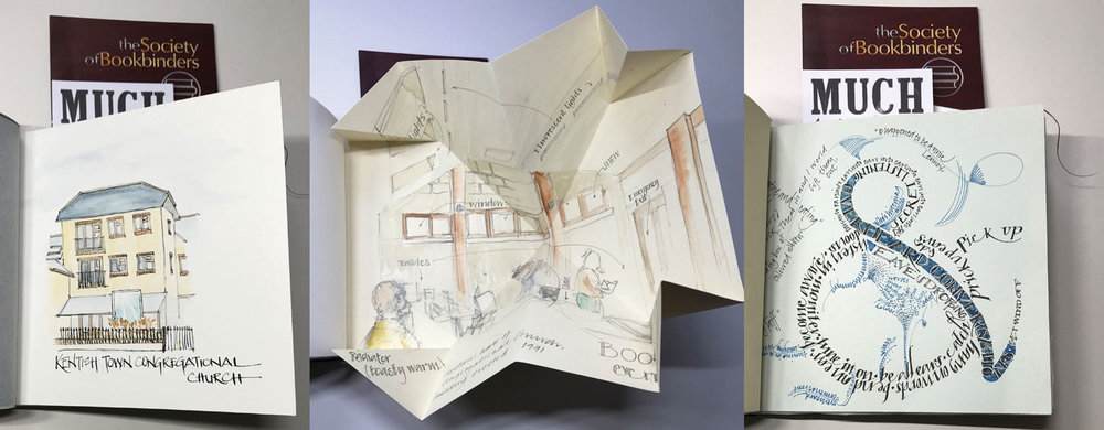 A watercolour of the back of the venue building. A drawing of the inside of the event room, folded using a Turkish Map Fold into the book. Overheard conversations, the only problem being on the day I talked to so many people during the event, I didn't overhear very much!