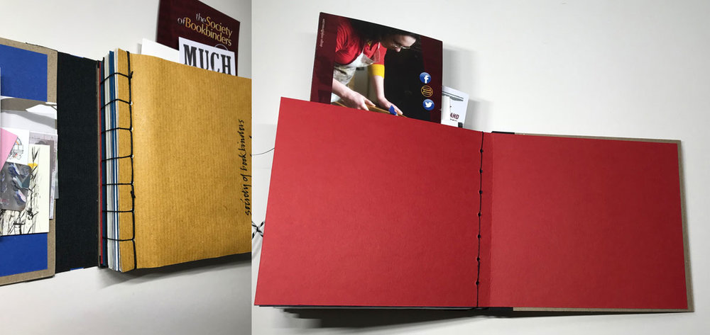 Pages are bound into a book using Japanese stab binding. The final page made of a folded sheet of red card, bound to the other pages and then attached onto the back cover.  This is a Swiss Binding, where the front cover and spine aren't attached to the body of the book.