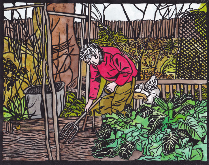 Winter Digging (a hand coloured linocut)