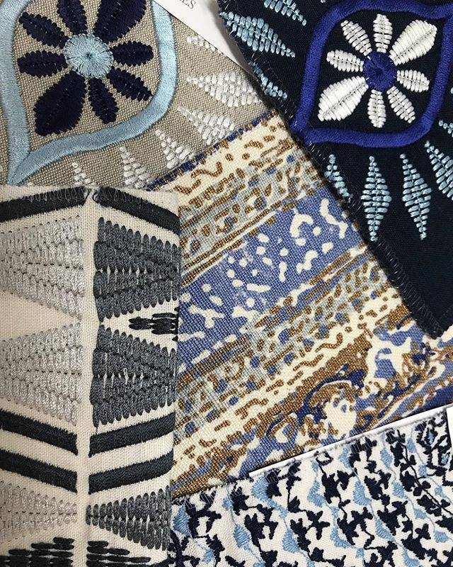 Pattern play with these embroidered indigos and cobalts #handembroidery #details #lushthis #whatwelove #wishlist #scattercushions #lampshades #bedheads #interiorinspiration #interiordecorating #interiordesign #brisbanebusiness #brisbanedesign #sohointeriors