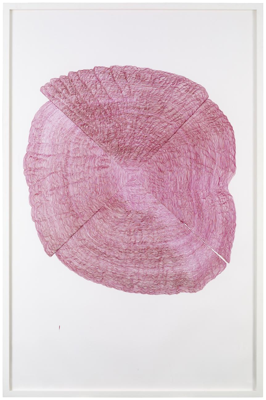 Patric Larsson  Röda cirklar med vertikal  2005 Pencil and ink 225 x 150 cm