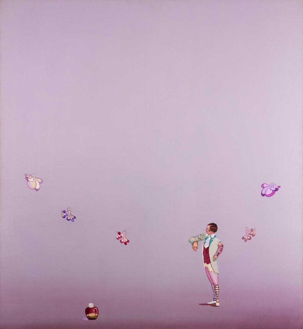 Jens Fänge  Red Vest, Purple Feeling  2003 Olja på duk 165 x 152 cm