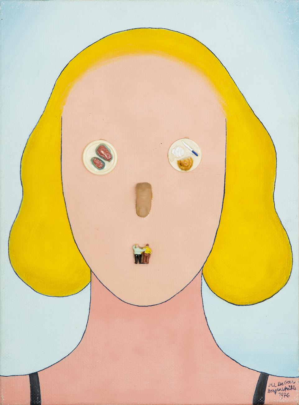 Marie-Louise Ekman  Utan titel  1976 Mixed media and assemblage on canvas 39 x 29 cm