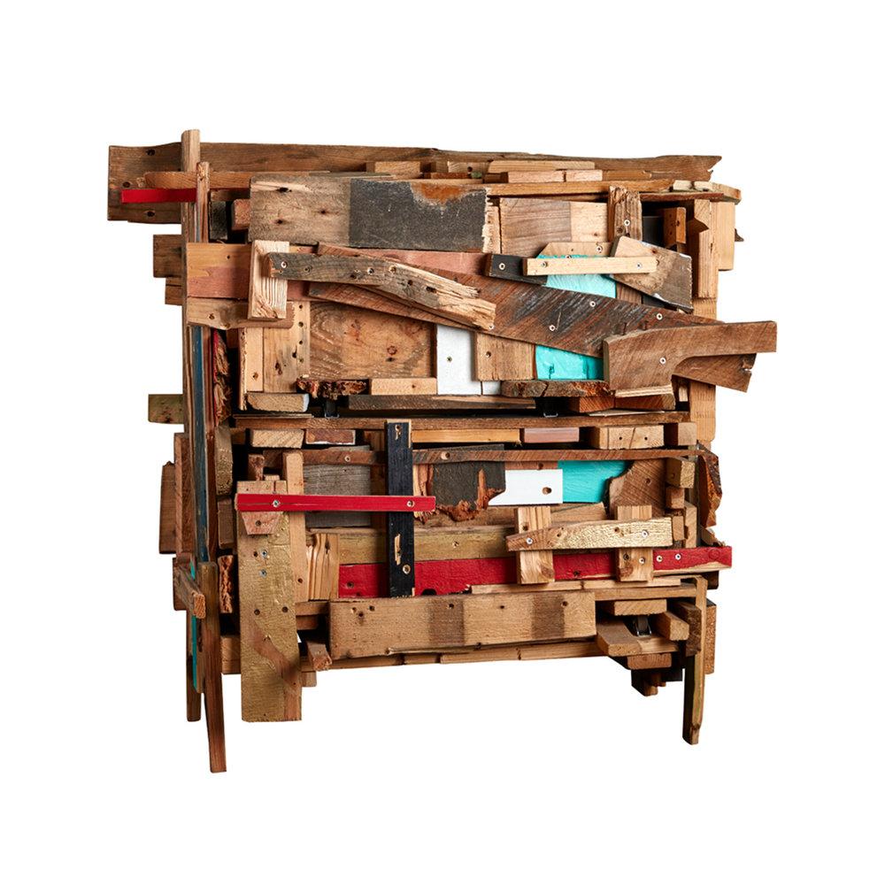 Godspeed (Finn Ahlgren & Joy van Erven)  Trash bureau  2011 Bureau of partially painted wood 85 x 100 x 55 cm