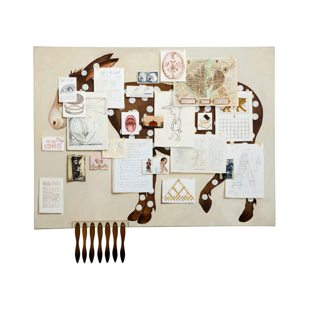 Lotta Hannertz  Notes-13  2013 Oil on canvas with assemblages 115 x 128 cm