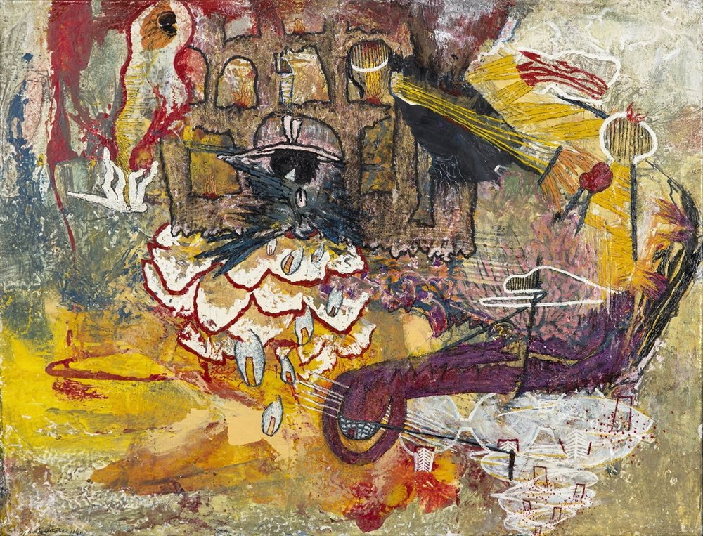 Öyvind Fahlström  La truie de Galitie  1960 Mixed media on canvas 37 x 50 cm