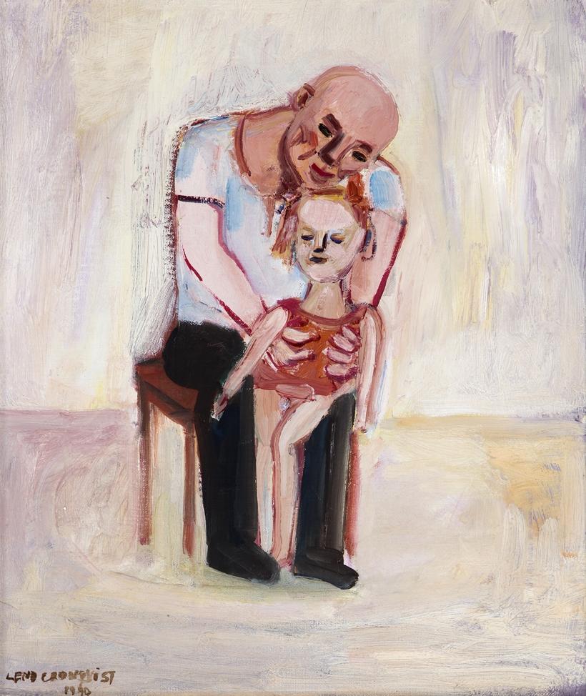 Lena Cronqvist  Pappa, barn III  1990 Oil on canvas 38 x 33 cm