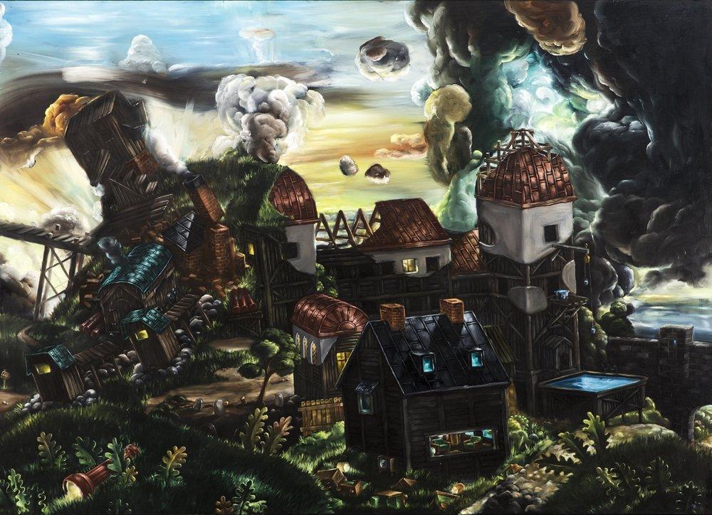 Wilhelm von Kröckert  Hastig utflyttning  2014-15 Oil on panel 92 x 125 cm