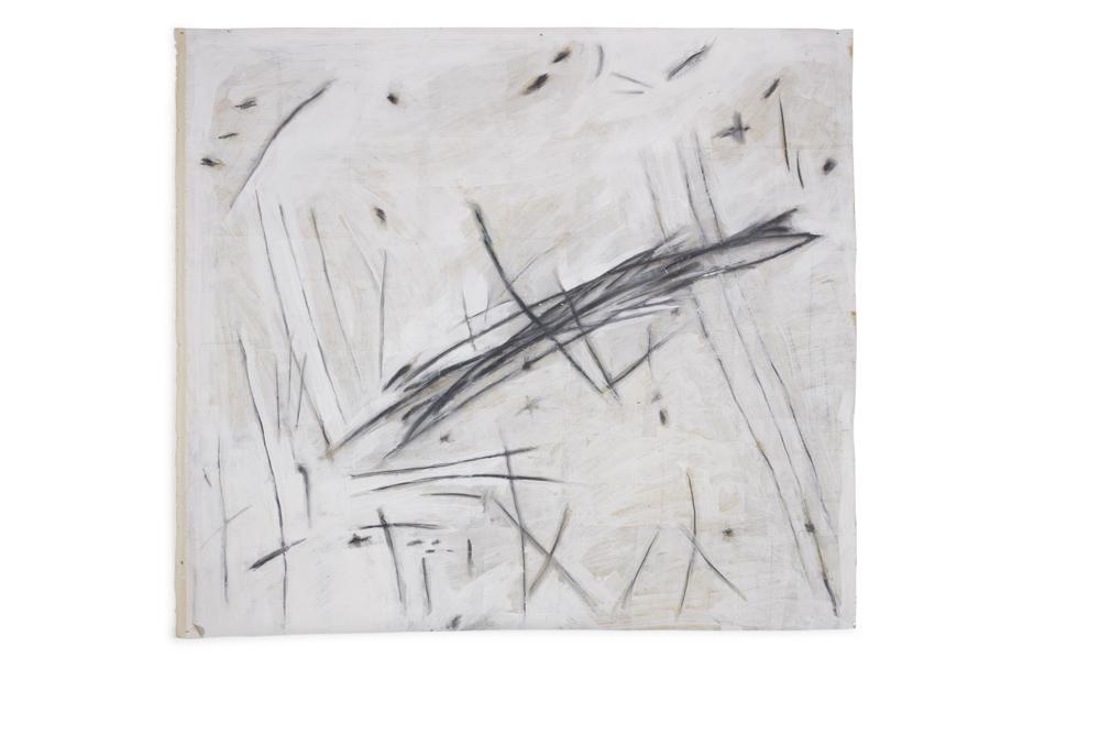 Avram Finkelstein   Untitled 2  2013 Canvas, newsprint, ceiling white, graphite 137,16 x 152,4 cm