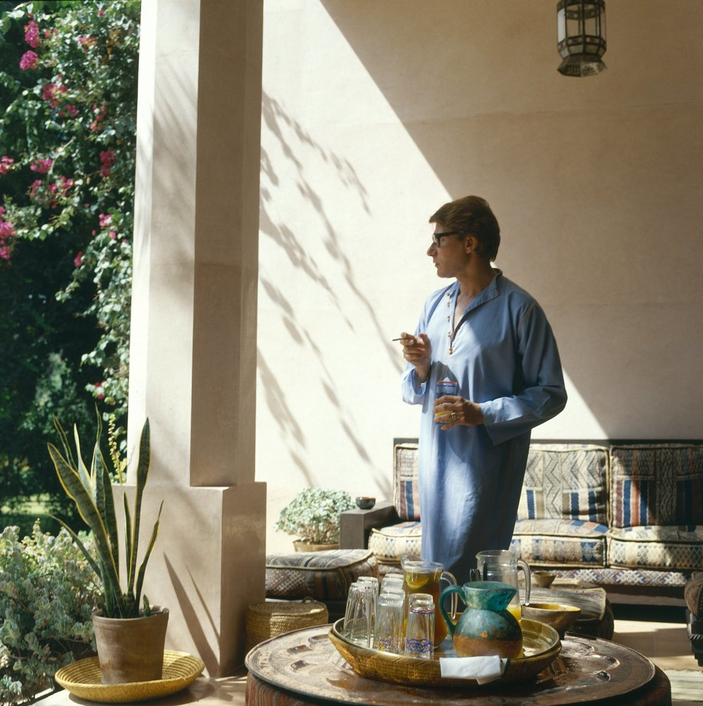 Yves Saint Laurent in his home in Marrakesh