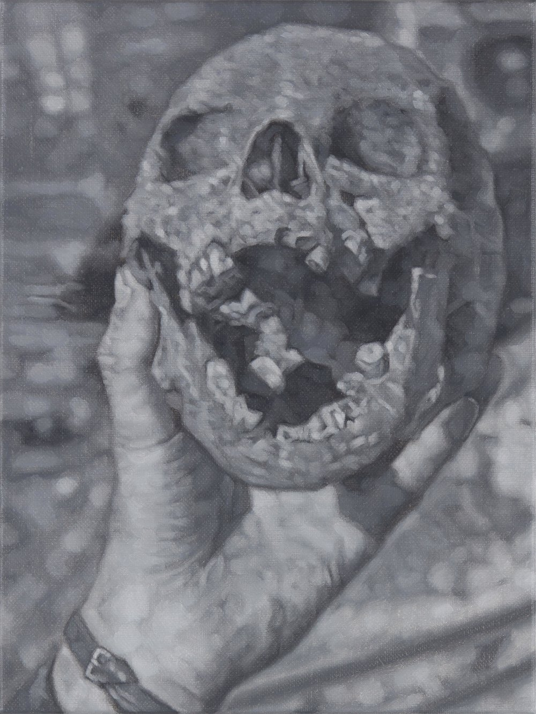 Tomas Lundgren   Skull (1)  2016 Oil on canvas 21 x 28 cm
