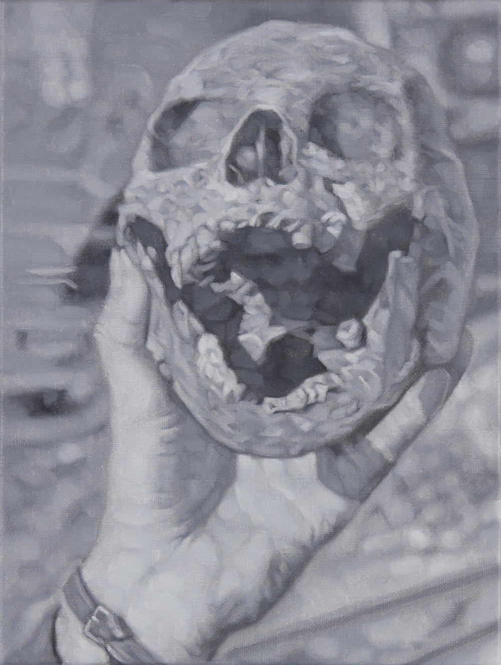 Tomas Lundgren   Skull (3)  2016 Oil on canvas 21 x 28 cm