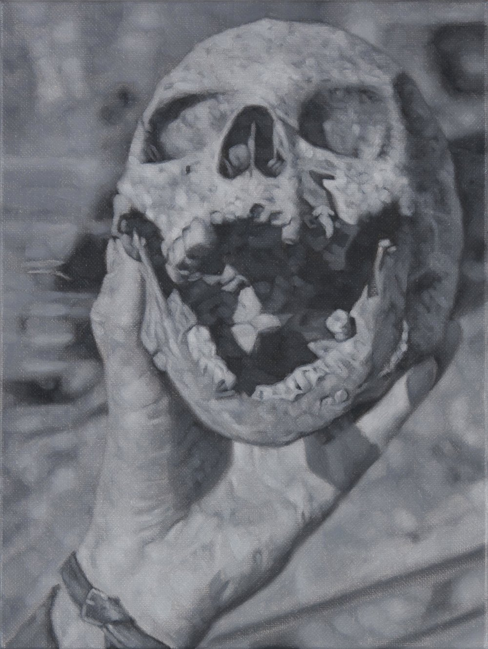 Tomas Lundgren   Skull (7)  2016 Oil on canvas 21 x 28 cm