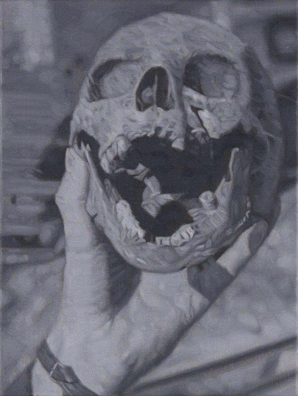 Tomas Lundgren   Skull (11)  2016 Oil on canvas 21 x 28 cm