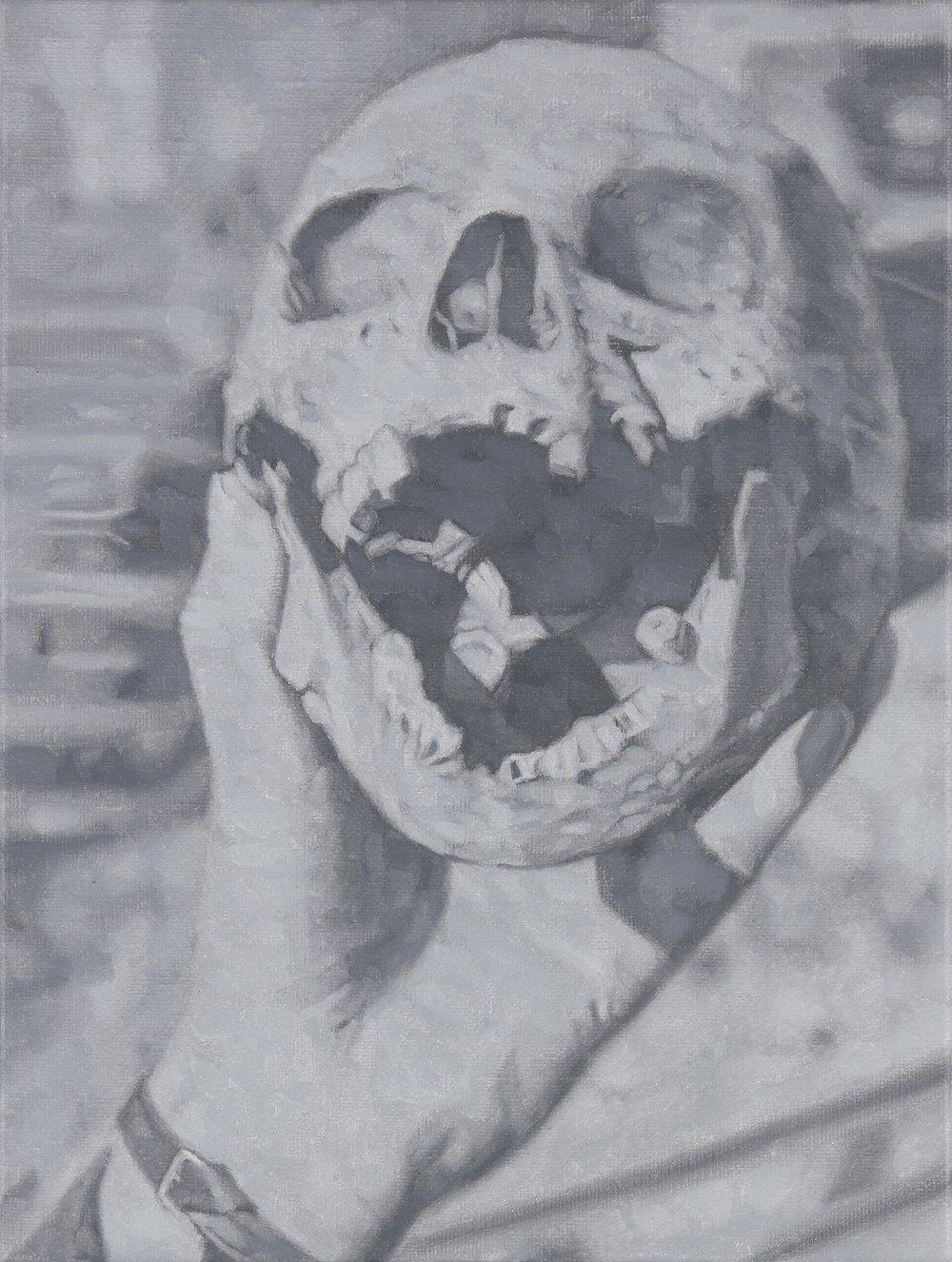 Tomas Lundgren   Skull (12)  2016 Oil on canvas 21 x 28 cm