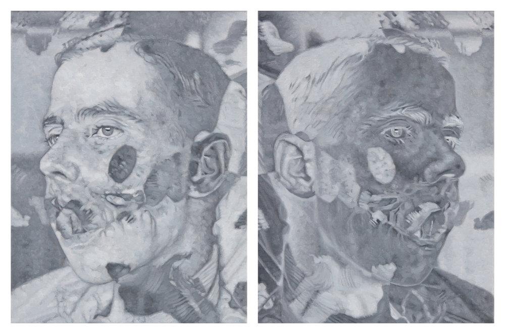 Tomas Lundgren   Apart (1a-b)  2015-16 Oil on canvas 31 x 41 cm, 2 parts