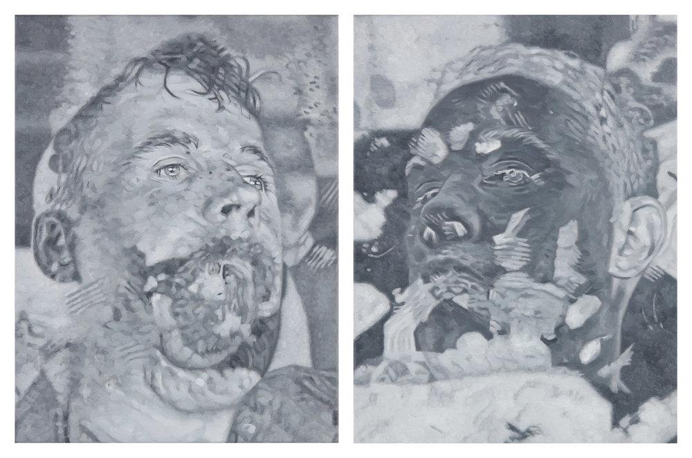 Tomas Lundgren   Apart (5a-b)  2015-16 Oil on canvas 31 x 41 cm, 2 parts