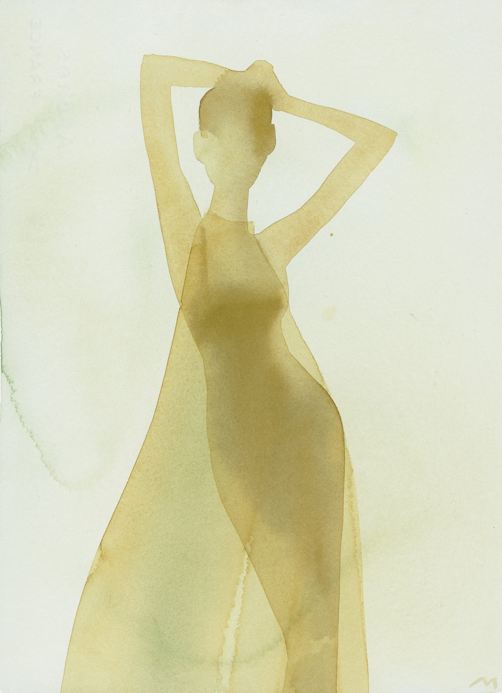 Mats Gustafson   Silhouette (Sheer evening dress)  For Tiffany & Co 2001 Watercolor 38 x 28,5 cm