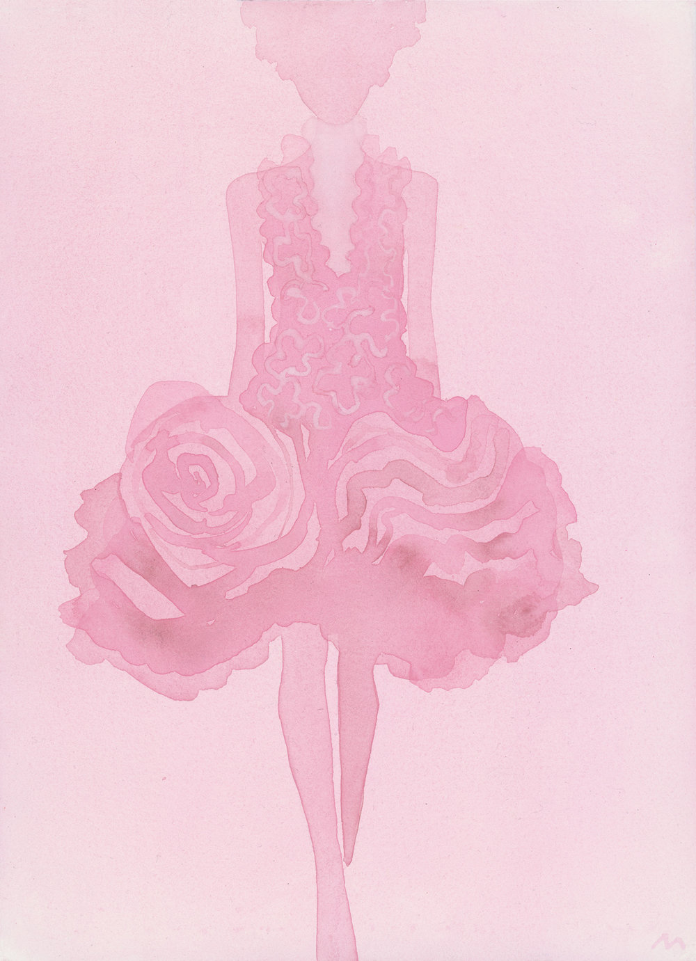 Mats Gustafson   Rose (Dress by Alexander McQueen)  For The Last Magazine Issue No 15 2015 Watercolor 45 x 33 cm