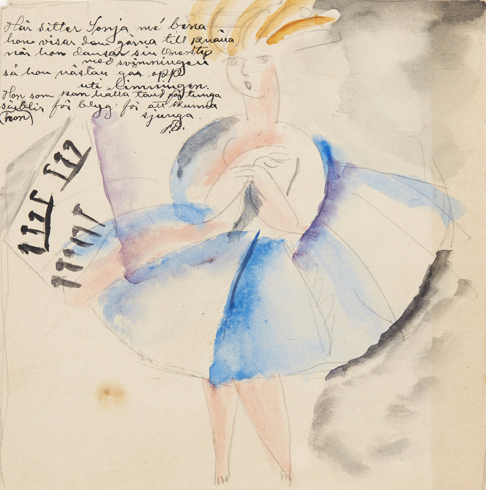 Siri Derkert   Sonja dansar onestep   Watercolor 15,5 x 13 cm