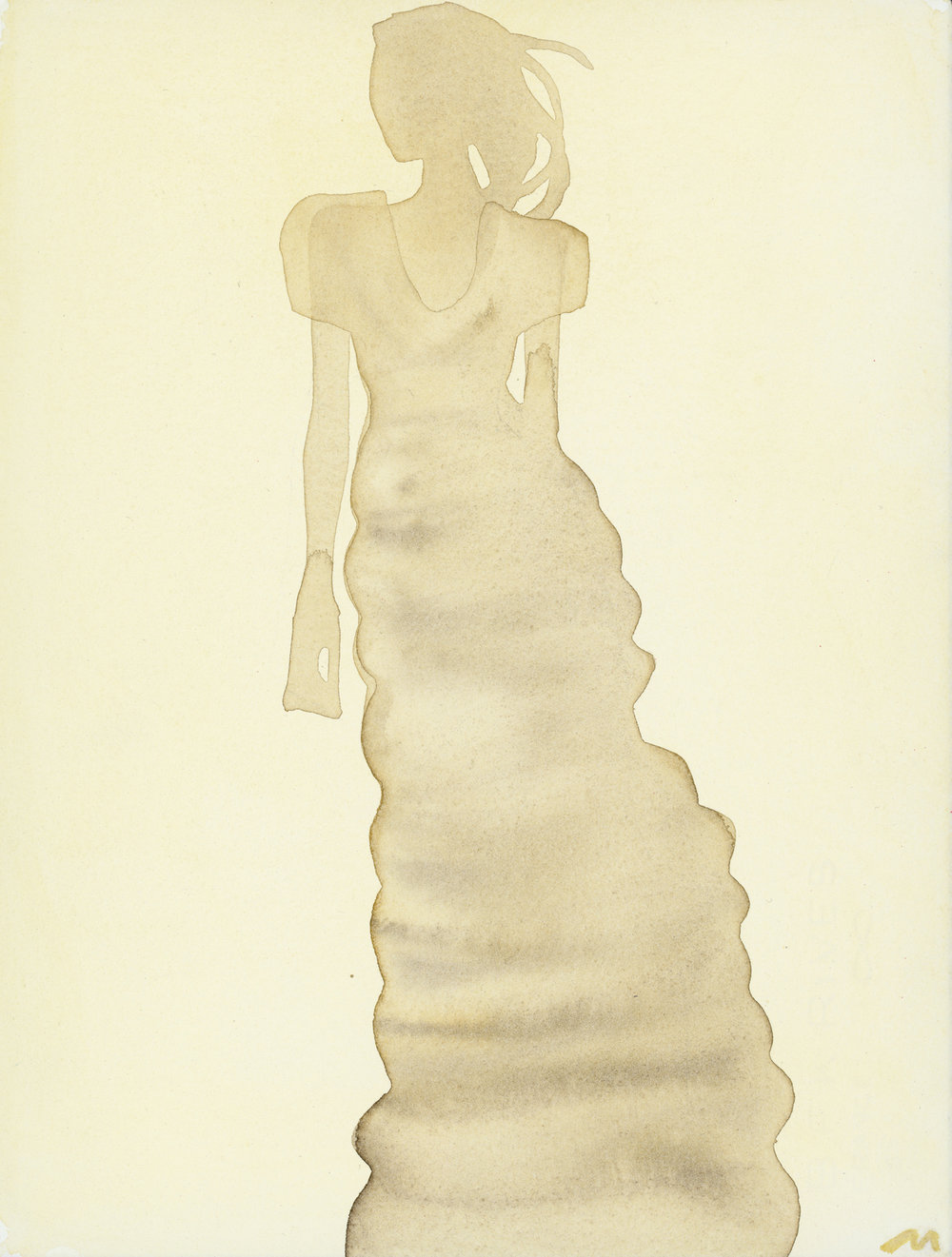 Mats Gustafson   Silhouette (Dress by Calvin Klein)  For Vogue China 2010 Watercolor 38 x 28,5 cm