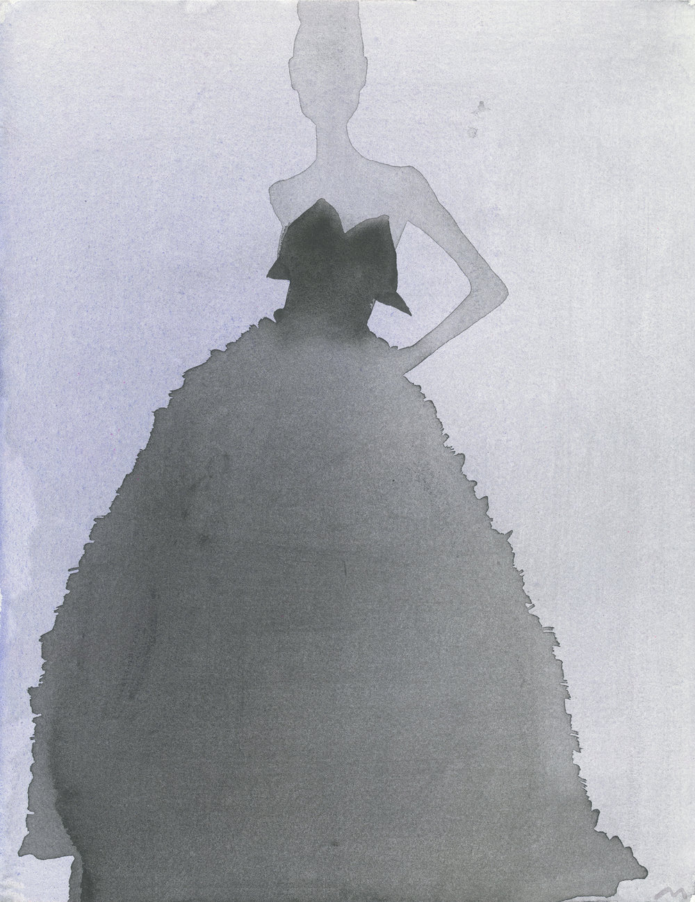 Mats Gustafson   Evening Gown (Lars Wallin Couture)  2011 Watercolor 42,5 x 33,5 cm