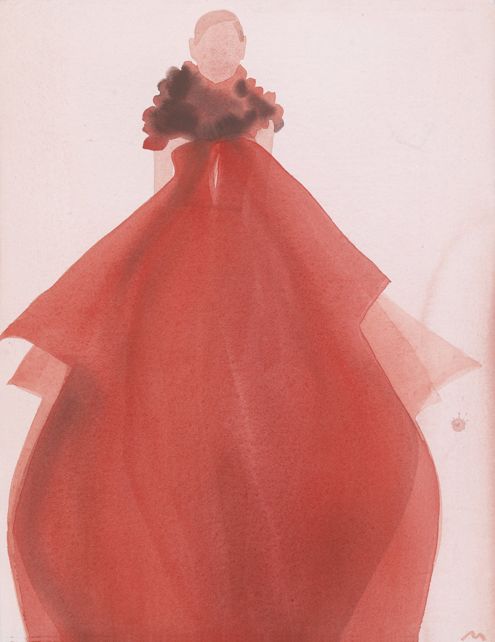 Mats Gustafson   Red Evening Dress (Gucci)  For Vogue China 2011 Watercolor 43,5 x 33,5 cm